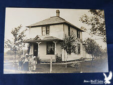 Large Square House 5 Children Mama at Door Fenced Yard Fruit Trees Barn RPPC