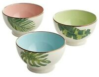 "Lenox Tropical Leaves 3pc Rice Soup Bowl Set 4"" NIB Multicolored"