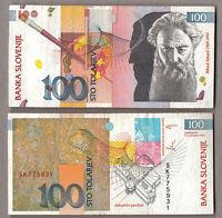 BANCONOTA SLOVENIA 100 Tolarjev DEL 1992 Rihard Jakopic CIRCOLATA CIRCULATED