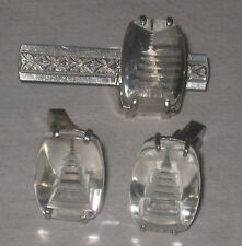 Vintage Japan Silver Carved Reverse Glass Pagoda Cufflinks & Tie Bar / Clip