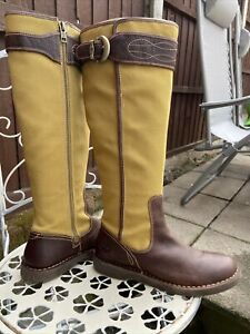 Timberland EarthKeepers Brown Leather Bionic Canvas Long Zip Boots Size 7 UK