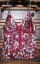 Victoria's Secret Floral Satin Velvet Details Tank Cami Sz Small Pink Polyester