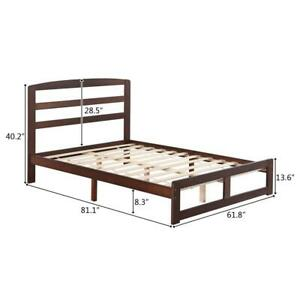 Wooden Bed Frame Double or King Size Bed Solid Wood Walnut Color UK