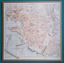 "ITALY Genova Genoa City Plan - 1931 BAEDEKER MAP 12.5 x 12.5 ""  32 x 32 cm"