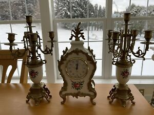 Antique Italian Style Clock With 2 Candelabras. Made In Italy.