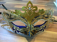 Masquerade Mask Venetian Filigree Gold Metal with Diamonte Ball Prom Halloween