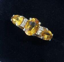 9ct Gold Citrine & Diamond Ring, Size L