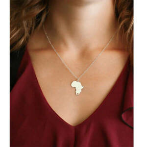 Africa Heart Map Necklace Pendant Gold Silver Travel Charm