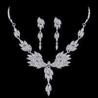 EG_Hochzeit Schmuck-Set Damen Luxus Flügel glänzend Strass Halsketten-Ohrringe