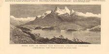 1880 Antiguo impresión Notre Dame, Doble Pico de montaña, estrecho de Magallanes