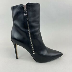 MICHAEL KORS Dawson Black Leather Ankle Zip Sexy Stiletto Heels Boots US8M UK5.5