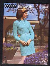 c1970s Knitting Pattern: Patons 6202: Mohair Shirt Style Dress