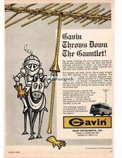 1968 Gavin V-Yagi Outdoor TV Antenna Knight on Horseback Cartoon Vtg Print Ad