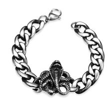 Stainless Steel Bracelet Cobra Cuban Silver Lobster Clasp L411