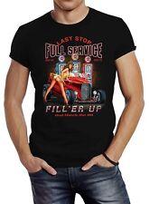 Herren T-Shirt Rockabilly Hot-Rod Pin-Up Girl Full Service Slim Fit Neverless®