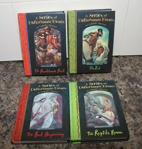 4 Books  A Series of Unfortunate Events by Lemony Snickets  1, 2, 12, 13