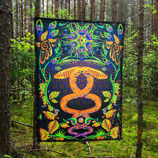 Fluorescent Tapestry Psychedelic Trippy Wall Art Visionary Tapestry UV Active