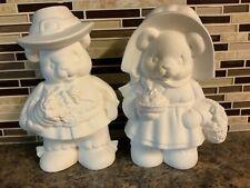REDUCED~Ceramic Bisque~Clay Magic~ThanksGiving Bears~Cornucopia~Apple Pie~UPaint