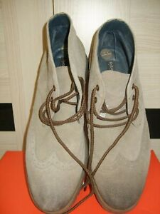 Mens 'Robert Wayne' Brogue Style Ankle Suede Boots Taupe Size 10