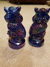 2 Vintage Joe St. Clair Carnival Art Glass Iridescent Owls Figurine Paperweight