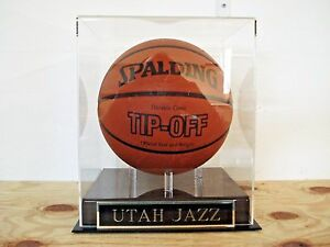 Utah Jazz Basketball Display Case With An Engraved Nameplate