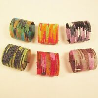 6 PC Handmade Bali Beaded Bright Color Block Tribal Cuff Bracelet WHOLESALE LOT