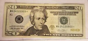 2013 (A) $20 Twenty Dollar Bill Federal Reserve Note Star Note Boston