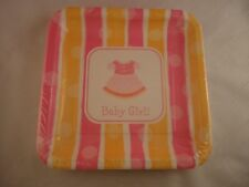 Baby Girl 18 Paper Plates (9in x9in) Baby Showers New Born Lunch Dinner Party