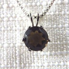 0.50ct Natural Round Smoky Quartz 925 Sterling Silver Necklace