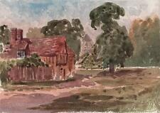 LAURENCE GEORGE BOMFORD Watercolour Painting c1895 IMPRESSIONIST FOREST COTTAGE