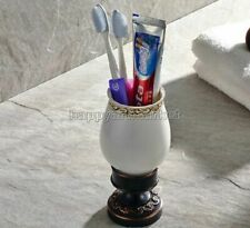 Oil Rubbed Bronze Bathroom Toothbrush Holder with Single Ceramic Cup