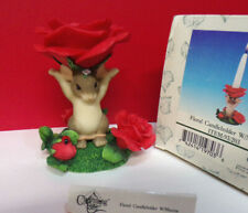 Charming Tails Floral Candleholder With Maxine Red Rose Figurine