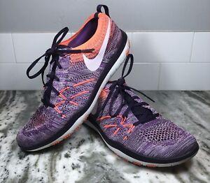 Nike Focus Flyknit Women's Running Sneakers Shoes Purple Peach Size 9. EUC