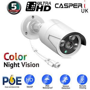 5MP POE IP Bullet Camera HD 1920P Outdoor IP67 Color Night Vision 3.6mm Lens UK