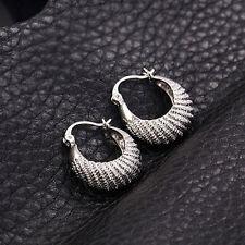 """ovely """"caterpillar"""" 9K White Gold Filled Ladies Hoop Earrings, allergy F2892"""