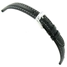 14mm Speidel Cross Stitched Genuine Oiled Leather Black Ladies Watch Band