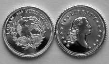 (25) 1 GRAM 0.999+ PURE SILVER ROUND FLOWING HAIR DESIGN OF 1ST US DOLLAR MINTED