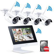 """ZOSI 4CH Wireless NVR Outdoor Funk Kamera mit 10"""" Monitor Überwachungsset 500GB"""