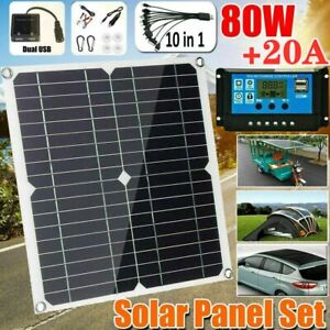 80W Solar Panel Kit 18V Dual USB Battery Charger 20A Controller for RV Camping