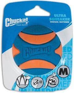 Chuckit Ultra Squeaker Ball 1 Pack Medium - Rubber Bounce Fetch fits Launchers