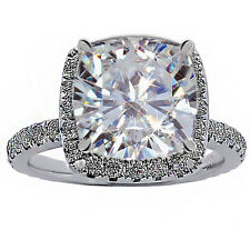 5.49CT WOMENS UNIQUE VS-F CUSHION / ROUND DIAMOND HALO ENGAGEMENT RING 18K WG
