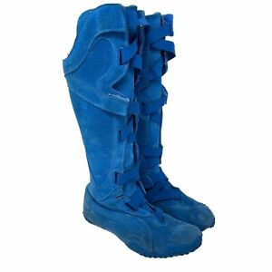 Puma Mostro Alto Suede Leather Sneaker Boots Blue Women's 7 Gladiator Knee High