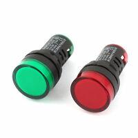 Plastic Housing Red Green LED Indicator Signal Lamp Light AC 220V 20mA 2 Pcs