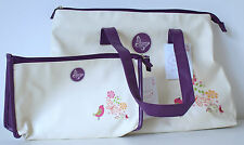 Make-up Cosmetics Bag with Matching Tote Bag in Cream Purple & Bird Design