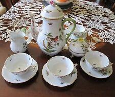Herend Rotchcild Bird 6 Cups & Saucers & Pot & Creamer & Sugar Bowl Coffee Set