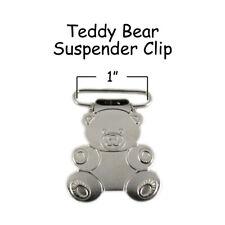 "50 Suspender Paci Pacifier Holder Mitten Clips - Teddy Bear 1"" w/ Inserts"
