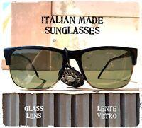 OCCHIALI DA SOLE UOMO sunglasses man VINTAGE RETTANGOLARE vetro MADE IN ITALY