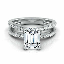 2.00 Ct Emerald Cut Solitaire Engagement Ring. Solid 14k White Gold
