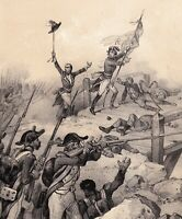 Lithographie XIXe Napoléon Bonaparte Pont d'Arcole Campagne d'Italie 1850