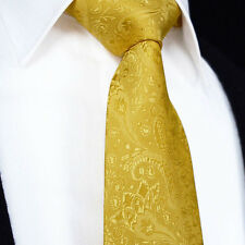 Mens Tie in Champagne Gold Orange - Woven Silk Floral Paisley Wedding Gift